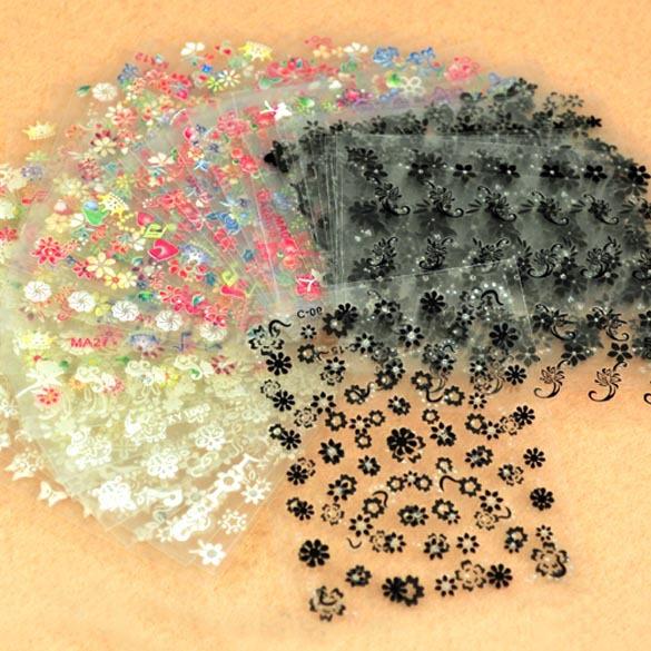 2015 New 50 Sheet x 3D Design Tip Nail Art Nail Sticker Nail Decal Manicure Mix Random Color Flower ,1002(China (Mainland))