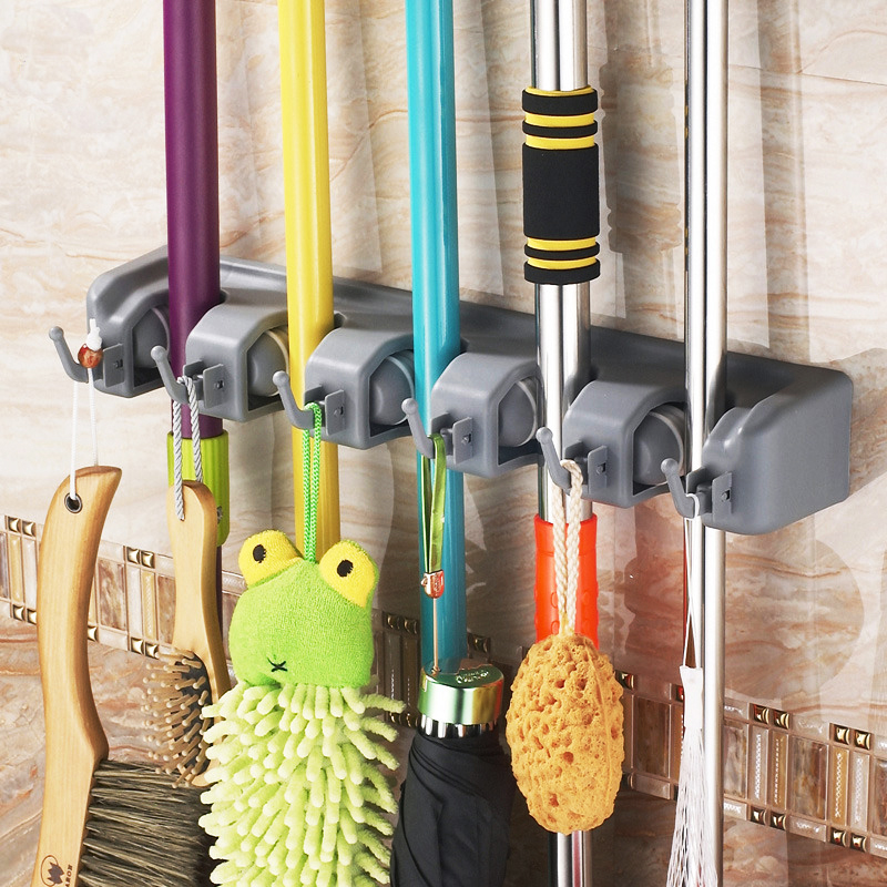 Multi-functional Kitchen Storage Wall Mounted 5 Position With 6 Hooks Mop Holder Broom Holder Tool(China (Mainland))