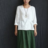 Long sleeve O-neck Linen Blouses Women Chinese style Loose Casual Shirt Summer Solid Yellow White Blouses Linen Cute Tops 5010