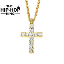Buy Hip Hop Alloy Gold Color Cross Pendant Necklace Religious Iced Rhinestone Crucfix Necklace Jewely Men Free Cuban Chain for $5.69 in AliExpress store