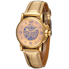 2014 Winner WRL8011M3G3 new Automatic Ladies  fashion skeleton dress watch gold wristwatch gold leather strap free shipping