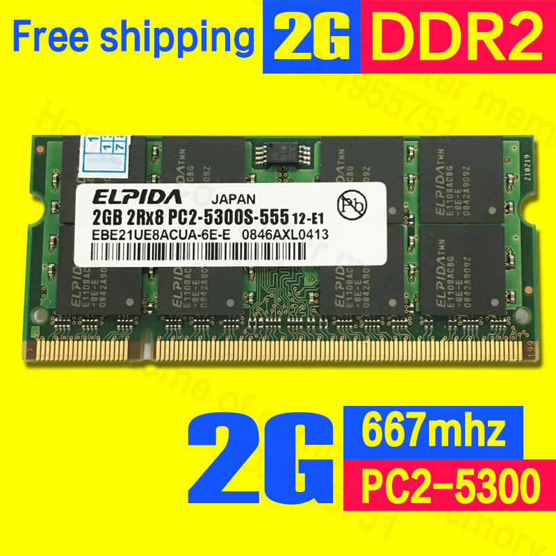 Elpida new brand orignal DDR2 2gb 667mhz PC2-5300 Memory ram memoria for laptop computer notebook sodimm Lifetime Warranty(China (Mainland))