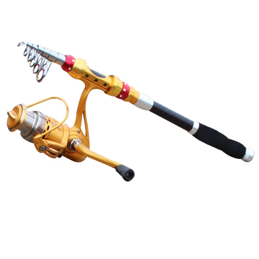 Gold Carbon Fishing Rod With Fishing Reel Vessel Set