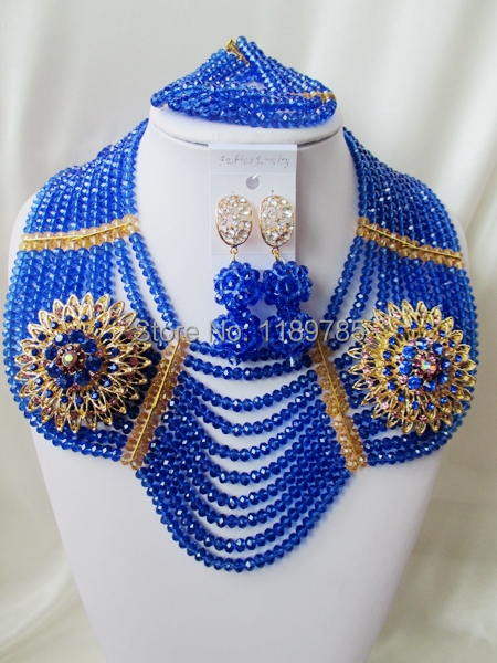Free Shipping  African Wedding Jewelry Set Costume Nigerian   Crystal Beads Jewelry Set Wholesale NEW A--9455<br><br>Aliexpress