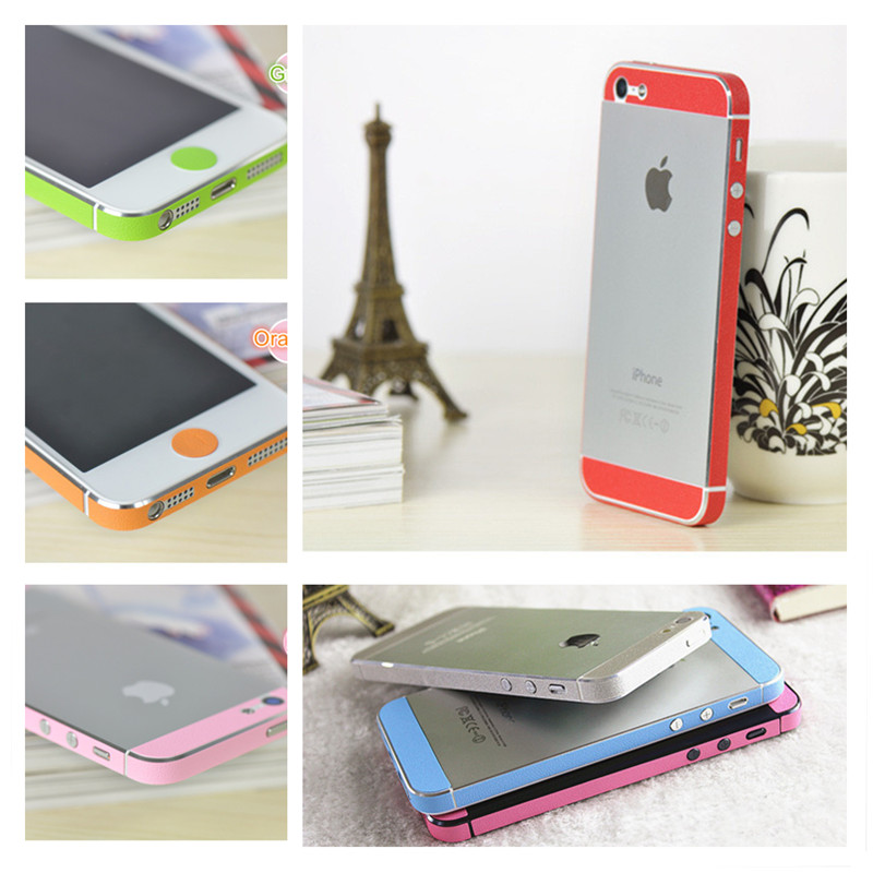 Leather Side Edge Button Decal Colorful Deco Mobile Phone Anti-scratch Skin Sticker For Apple iPhone5 5s(China (Mainland))