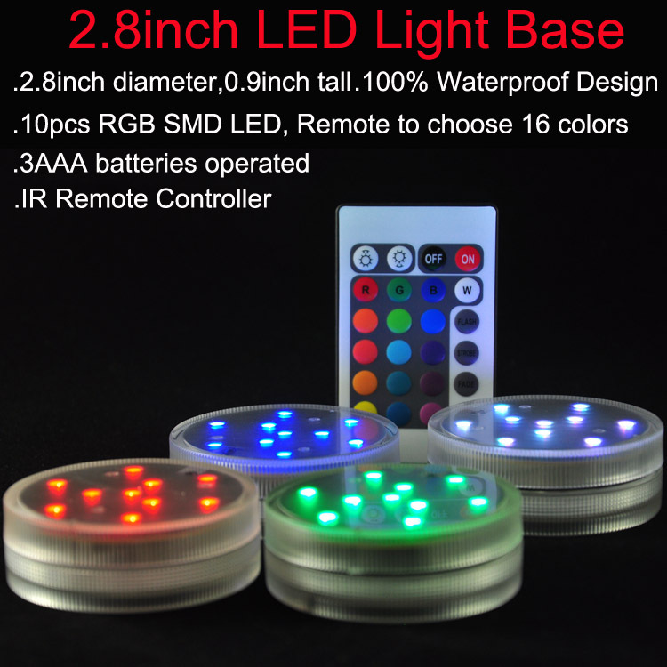 20pcs/LOT Multicolor Submersible LED Lights,Underwater Pond Lighting/Fountain Lighting, LED Accent Lights with Remote Controller(China (Mainland))