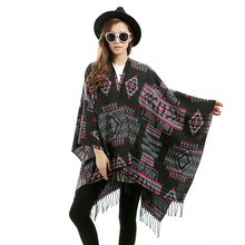 2016 Women Plaid Tartan Scarf Fall Winter New Tassels Button Down Faux Cashmere Shawl Poncho Cape Wrap Warm Pashmina
