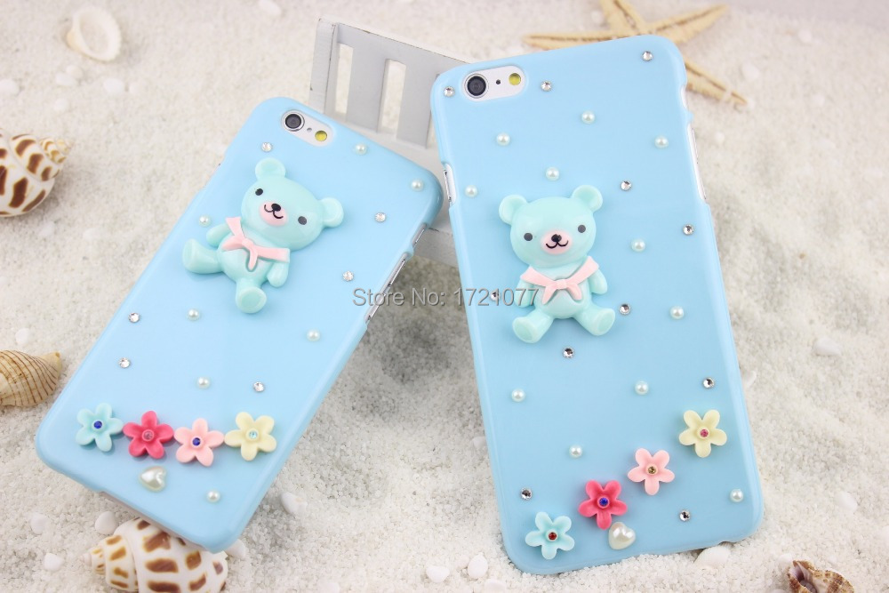 Fashion Trend Full Diamond Cute Blue Cubs Paste Diamond Back Case For iPhone 6/6 plus(China (Mainland))