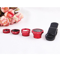 4in1 Universal Clip 0.67X Wide Angle+Fish Eye+2X Teleconverter+Macro Lens Phone Camera Kit for iPhone 5 6 Samsung LG Smartphone