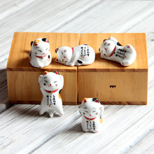 Set of 5PCS Ceramic Cat Minitures Cat Family Porcelain Cat Figurine Everyday Smiles Small Pet Collector Figurine