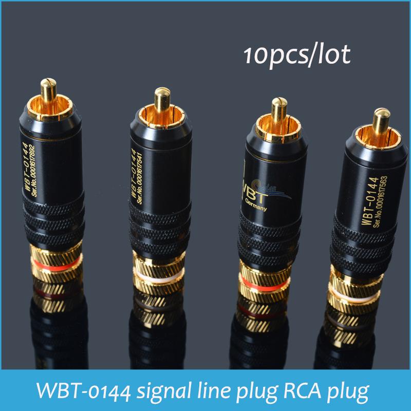 Sindax RCA connector male WBT-0144 signal line plug WBT 0144 RCA plug lotus head copper RCA plug gold plated 10pcs/lot<br><br>Aliexpress