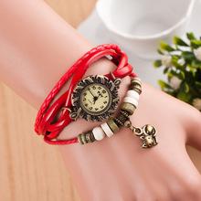 Fashion Retro Trendy Mayan Style Cat Pendant Leather Knit Band Vintage Bracelet Bangle Wrist watch Watches for Women Girls