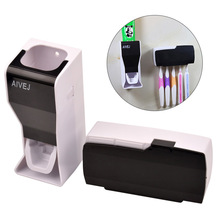 Fashion Bathroom Set Accessories Automatic Tooth Paste Squeezer Toothpaste Dispenser + Toothbrush Holder Wall Stand Family Sets(China (Mainland))