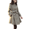 DHTEMA 2016 New Brand Women Winter Wool With Sashes O Neck Warm Blue Gray