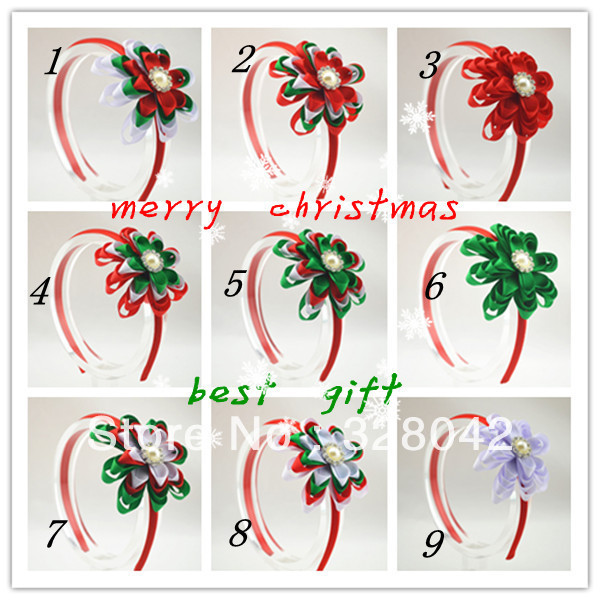 Trail order  baby girl Christmas Gifts Grosgrain Ribbon flowers Hairbands princess hair accessory 20pcs/lot