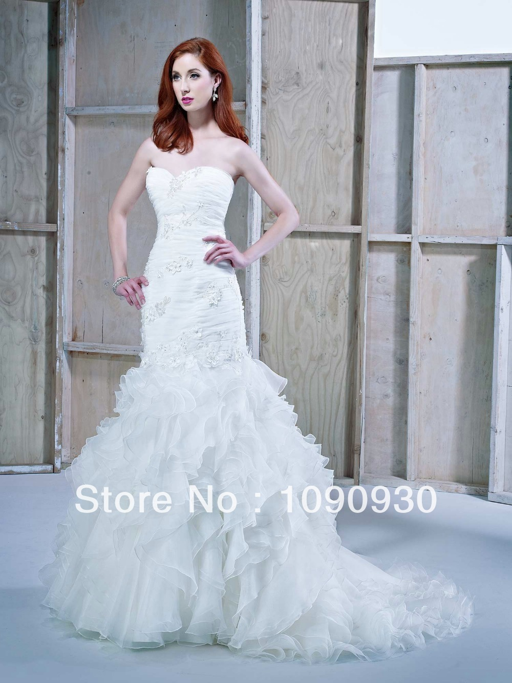 2014 new design elegant sweetheart sleeveless lace for Tiered ruffle wedding dress