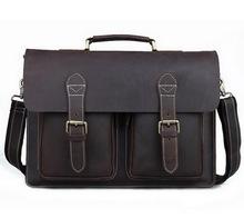 Men bag Crossbody bag 100% Genuine Leather Handbags Men Crazy Horse Leather Messenger Bags Shoulder Bags men's Briefcase handbag(China (Mainland))
