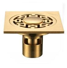 three holes 4″ Floor Drain Golden Polished brass bathroom Strainer Drain torneira eletrica banheiro