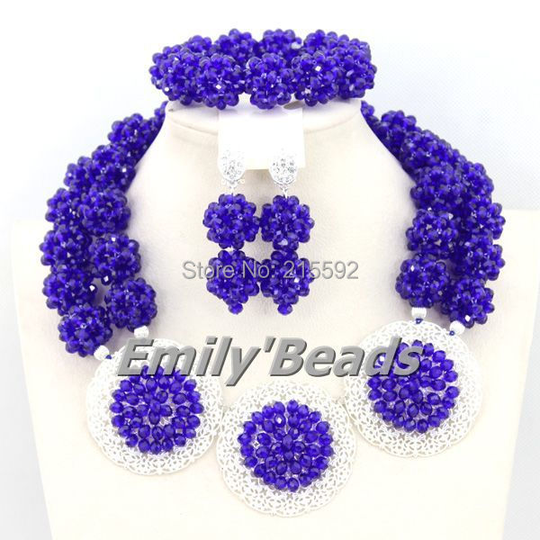Splendid Costume African Jewelry Sets Handmade Wedding Crystal Jewelry Sets Choker Necklace Set 2015 New Free Shipping AEJ477(China (Mainland))