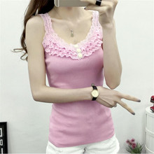 Summer Tanks Tops 2016 Korean fashion slim cascading lace diamond knitted u neck sling
