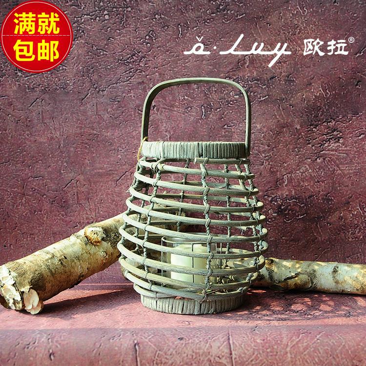 Rattan lantern handmade vintage light gray hurricane lantern with glass liner fire prevention processing home garden decoration(China (Mainland))