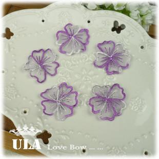 Wholesale applique flower designs DIY Decoration Lace Fabric Paste Decoraive Cloth Paste purple white Lace Applique 100pcs/lot