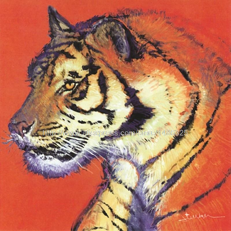 High Quality Posters And s Abstract Red Canvas Wall Art Large Canvas Canvas Painting Pop Art Living Animal Tiger Painting(China (Mainland))