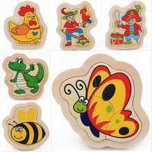 Kids Toys Puzzles Education Wooden Toys Wood Puzzles For Children 4pcs Infant Baby Child Animal Wooden Puzzle Wholesale 2015 NEW(China (Mainland))