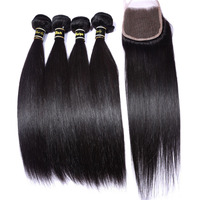 TOP 7A Malaysian Virgin Hair Straight 4pcs With Closure #1B Malaysian Straight Hair 100%Unprocessed Human Hair Weave Bundles