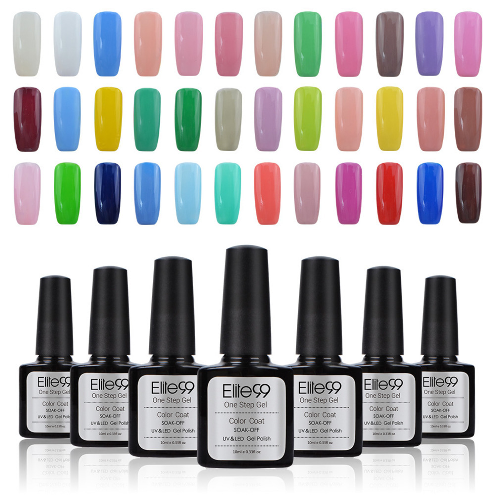 Elite99 10ml 0.33oz One Step Soak Off UV Gel Nail Polish Free Ship Gel Lacquer Choose 5 Gel Colors(China (Mainland))