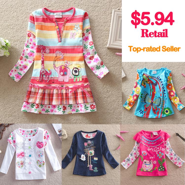 Retail 2015 new brand t-shirts girls long sleeve roupa infantil princess lace children cartoon clothing kids wear nova L316 mix(China (Mainland))