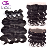 Ear To Ear Lace Frontal Closure With Bundles Body Wave Malaysian Virgin Human Hair Full Frontal Lace Closure 13x4 With 4 Bundles