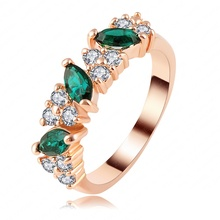 Dark Green Color Zircon Ring 2014 Unique New Real 18K Rose Gold Plated Women Rings Fashion Jewelry ITL-RI0114