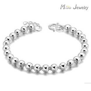 Бесплатная доставка серебряные браслеты глянцевая бусины браслеты украшения для женщин Srebrna bransoletka pulsera де-плата