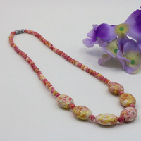 Snow jade stone riverstones!6mm round and 13x18mm oval beads making necklace 18 inch women suitable for various places