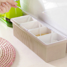kitchen seasoning box 27*8cm 4 separate samll box with cover spoon removeable spice pepper salt storage box free shipping c66(China (Mainland))