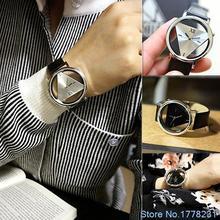 Hot Sale FashionUnisex Charm Glass Hollow Triangle Dial Faux Leather Analog Quartz Wrist Watch 4GKK