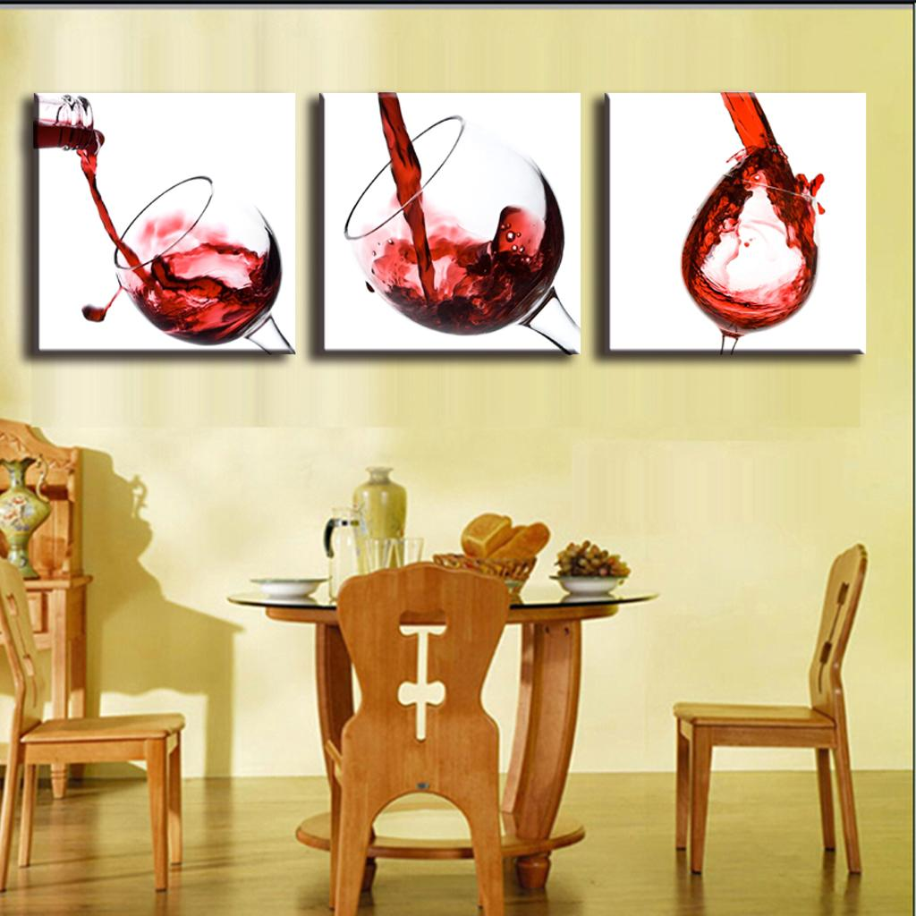3 pictures framed canvas painting home decor wall painting for Wine and dine wall art
