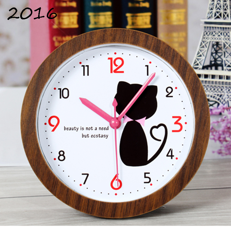 Newly Design Horse Style Table Wood Small Desktop Alarm Clock Kids Modern Wooden Desks/Bedroom Clock Wood Cube Clock TableWatch(China (Mainland))