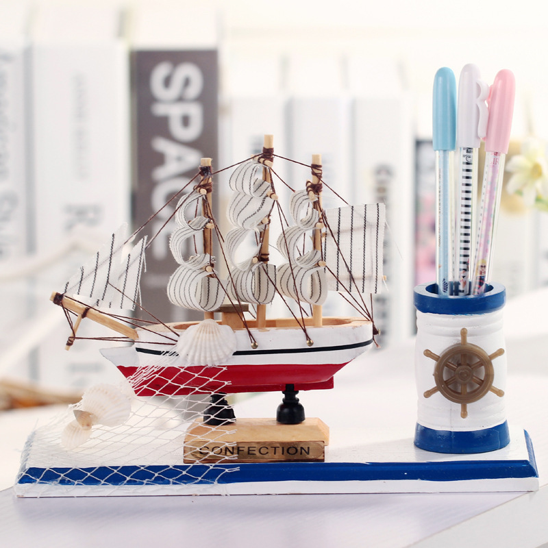 Wooden Ship Model 2016 Miniature Marine Wood Boat Wooden Sailing Ship Nautical Fashion Pen Container Decor Home Crafts(China (Mainland))