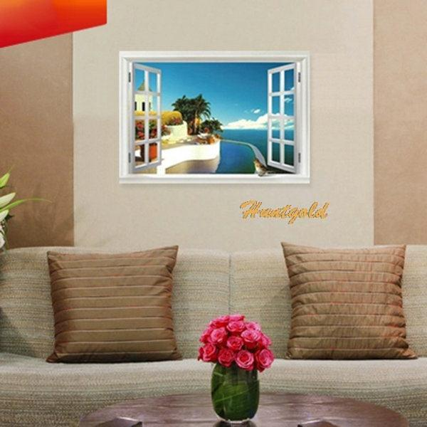 fashion mediterranean style window beach wall sticker home aliexpress com buy dolphin ocean world 3d wall stickers