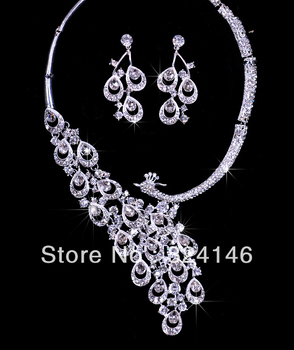 2015 Hot sale Gorgeous peacock crystal bridal jewelry sets shiny rhinestone wedding jewelry sets accessories