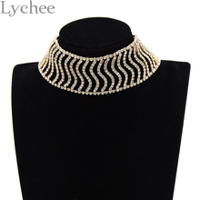 Buy Bling Crystal Choker Necklace Wave Shape Rhinestone Stament Necklace Collette Chunky Necklace Collier Collar Bride Party Jewelry for $6.37 in AliExpress store