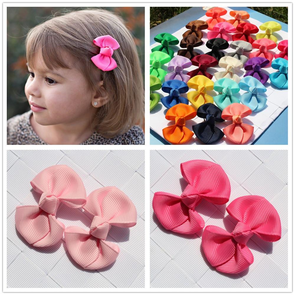 2pcs 2 INCH fashion kids baby girl solid hair clip ribbon bow flower barrettes children hair accessory hairpin hairgrip headwear(China (Mainland))