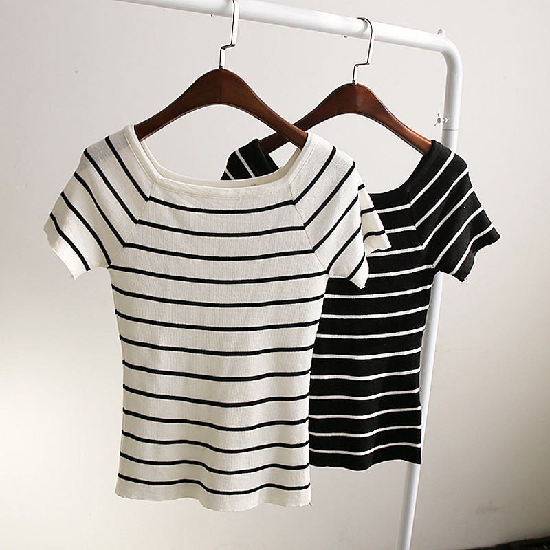 Ladies tight fitting striped cropped tops for women for Tight t shirt crop top