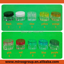 Fedex Free Shipping 200pcs 3g square jar with round lid, 3g transparent clear plastic jar bottles containers,sample cream jar 3g