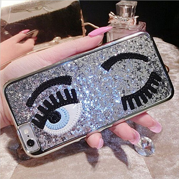 New Fashion 3D Embroidery Glitter Bling Shining Eyes Style Hard Case for iPhone 5s 6 6plus(China (Mainland))