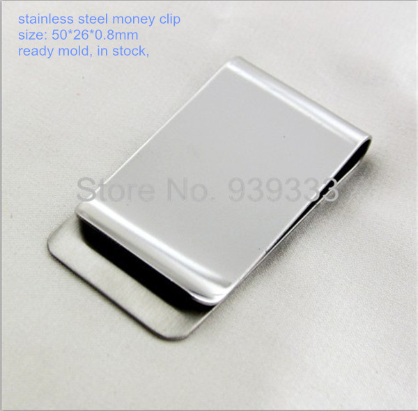 Cheap plain polished steel money clips in stock, available with customized logo imprint, ready mold, SS money clips on sale,(China (Mainland))