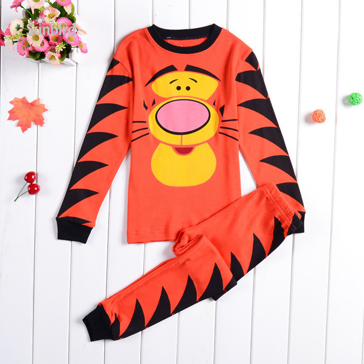 KR-102, tiger, Children boys pajamas, 100% Cotton long sleeve sleepwear clothing sets for 2-7 year.<br><br>Aliexpress