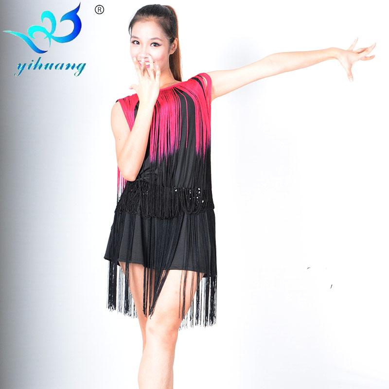 Tassel Latin Dance Dress Women Sleeveless V Neck Tango Ballroom Salsa Dance Dress Party Costume Dancewear Tassel Dresses(China (Mainland))